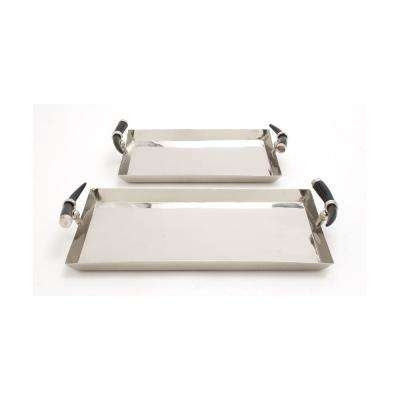 Polished Silver Stainless Steel Rectangular Decorative Trays with Horn Handles (Set of 2)