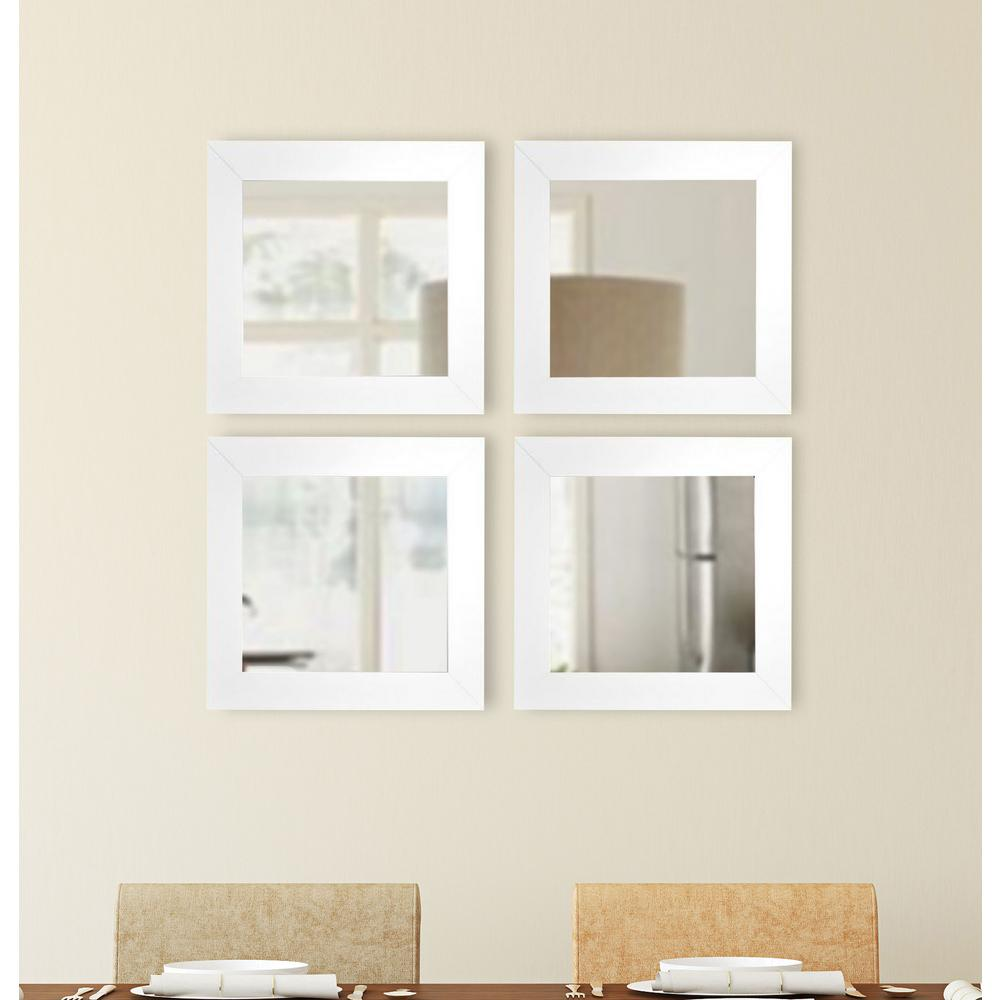 175 in x 175 in antique silver square wall mirrors set of 4 white satin square wide wall mirrors amipublicfo Images