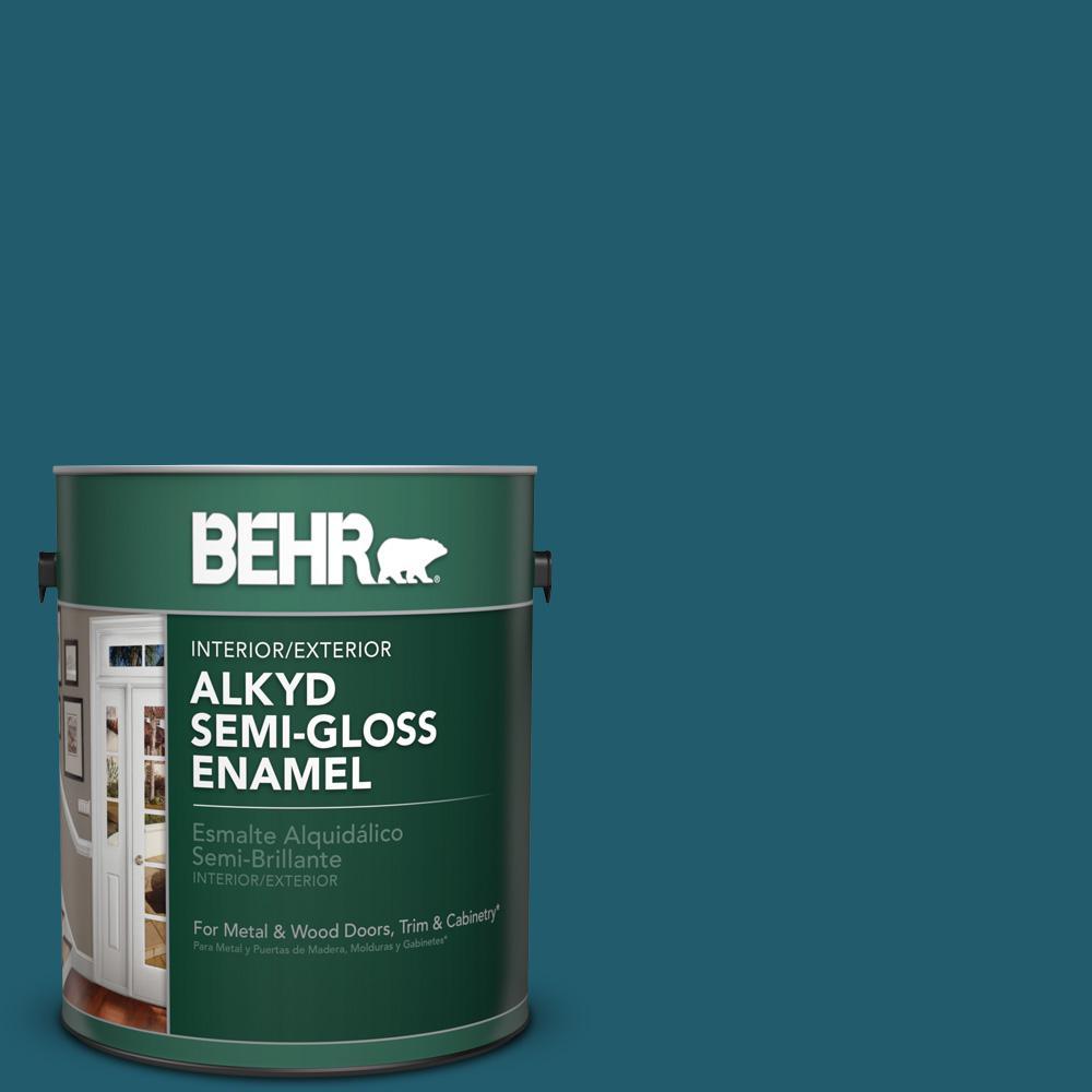1 gal. #T16-04 Galapagos Semi-Gloss Enamel Alkyd Interior/Exterior Paint