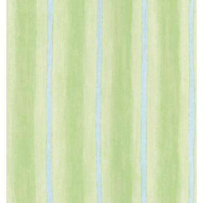 Destinations by the Shore Green Brushy Stripe Wallpaper Sample