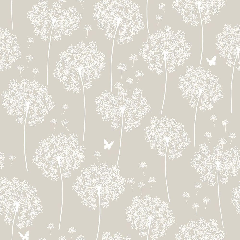 Nuwallpaper taupe dandelion peel and stick wallpaper - Best peel and stick wallpaper ...