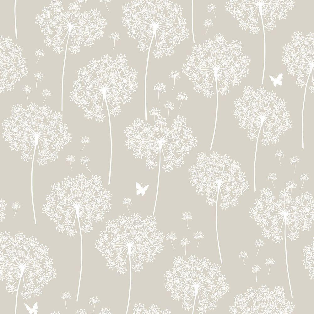 NuWallpaper Taupe Dandelion Peel and Stick Wallpaper by NuWallpaper