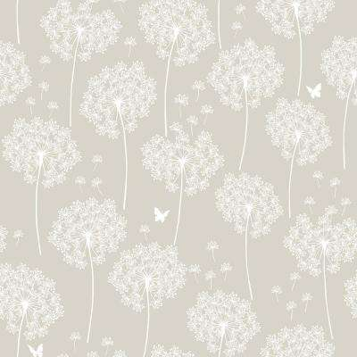 Taupe Dandelion Peel and Stick Wallpaper