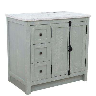 Plantation 37 in. W x 22 in. D x 36 in. H Bath Vanity in Gray Ash with White Marble Vanity Top and Right Side Oval Sink