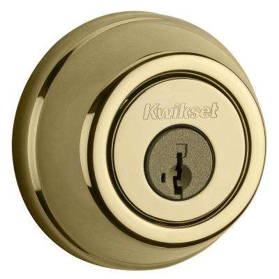 910 Signature Series Lifetime Polished Brass Single Cylinder Traditional Deadbolt with Home Connect Technology