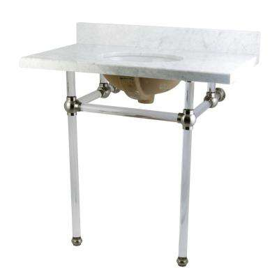 Washstand 36 in. Console Table in Carrara White with Acrylic Legs and Connectors in Satin Nickel