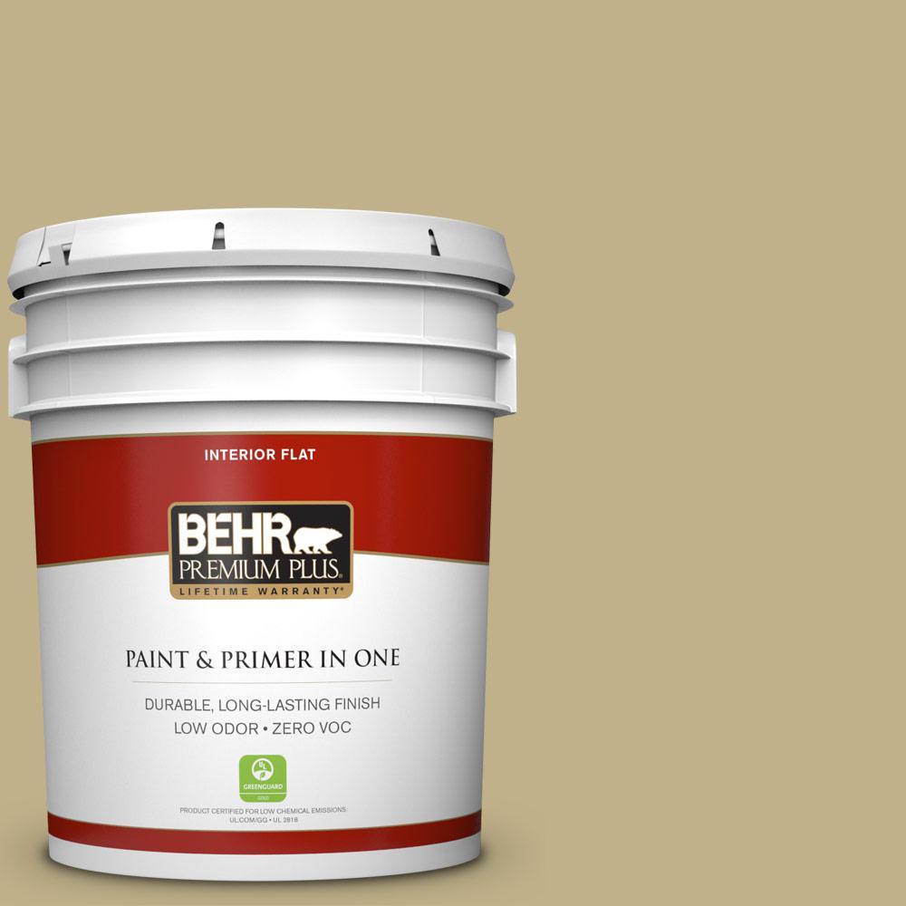 BEHR Premium Plus 5-gal. #380F-5 Harmonic Tan Zero VOC Flat Interior Paint