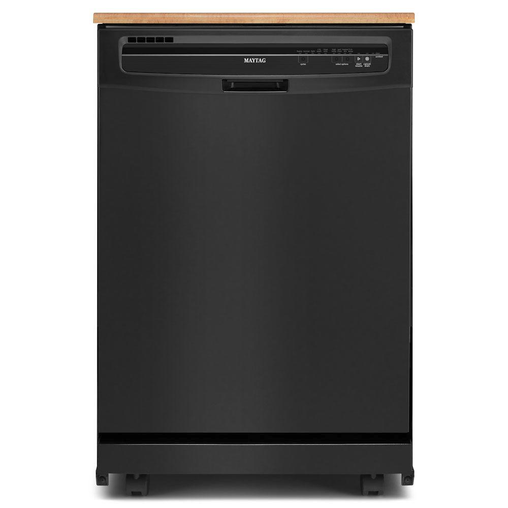 Maytag JetClean Plus Portable Tall Tub Dishwasher in Black with 10 Place Settings Capacity-DISCONTINUED