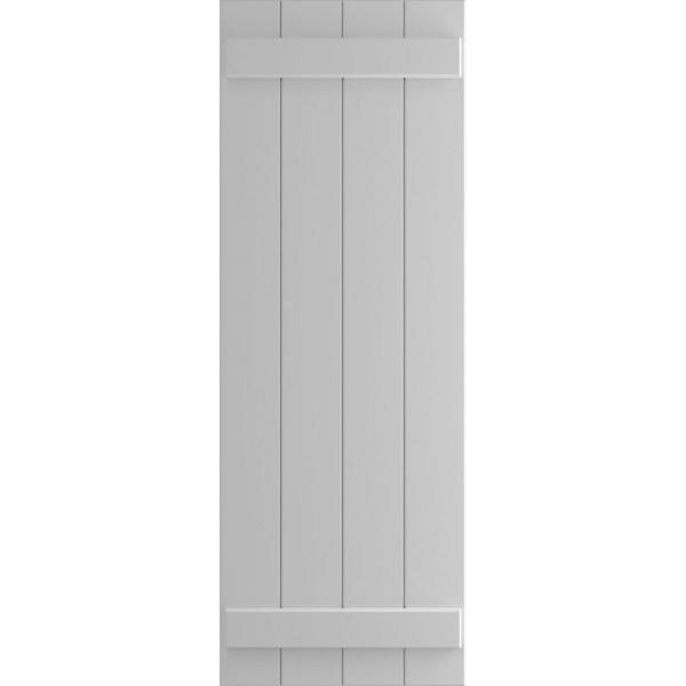 Ekena Millwork 21 1 2 X 27 True Fit Pvc Four Board Joined Board N Batten Shutters Primed Per Pair 1573353 The Home Depot