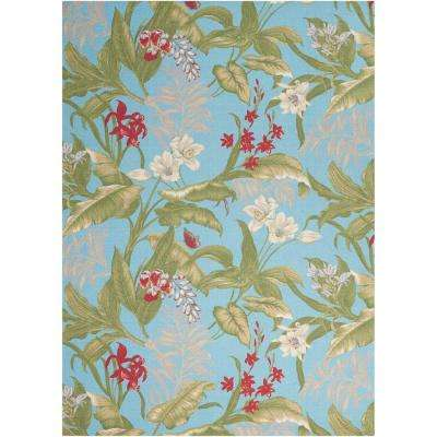 Wailea Coast Aqua 8 ft. x 11 ft. Indoor/Outdoor Area Rug