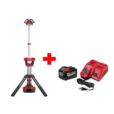 M18 18-Volt Lithium-Ion Cordless Rocket LED Stand Light/Charger with Free M18 Rapid Charger and 9.0Ah Battery