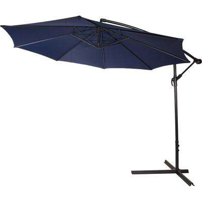 10 ft. Deluxe Cantilever Polyester Offset Patio Umbrella in Blue