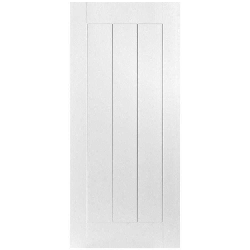 Masonite 28 in. x 80 in. Saddlebrook Smooth 1-Panel Plank Hollow Core Primed Composite Interior Door Slab