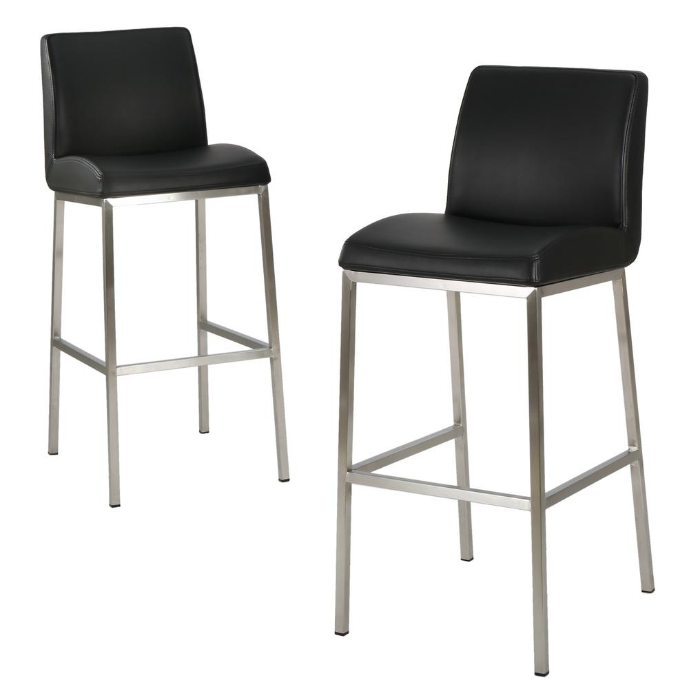 Noble House Noble House Vasos 30 in. Black Leather Barstool (Set of 2)