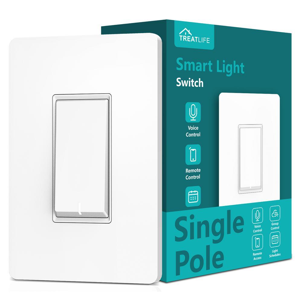 matrix decor 2.4 GHz Single Pole Push Button Smart Wi-Fi Light Switch, White