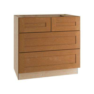 Hargrove Assembled 36x34.5x24 in. Double False Front and 2 Deep Drawers Base Kitchen Cooktop Cabinet in Cinnamon