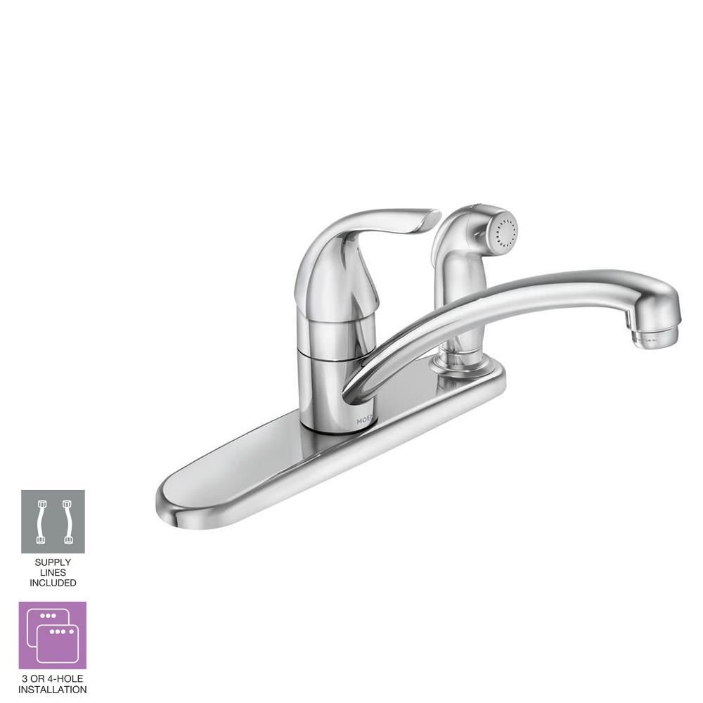 Moen Adler Single Handle Low Arc Standard Kitchen Faucet With Side