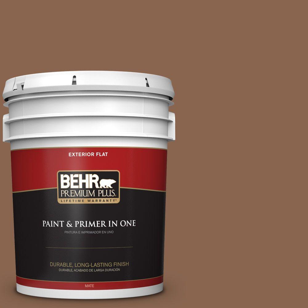 BEHR Premium Plus 5-gal. #S220-7 Molasses Flat Exterior Paint