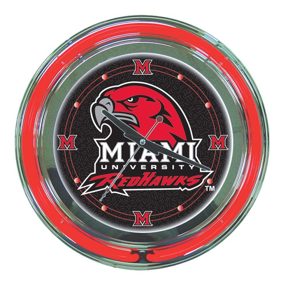 14 in. Miami University Ohio Neon Wall Clock