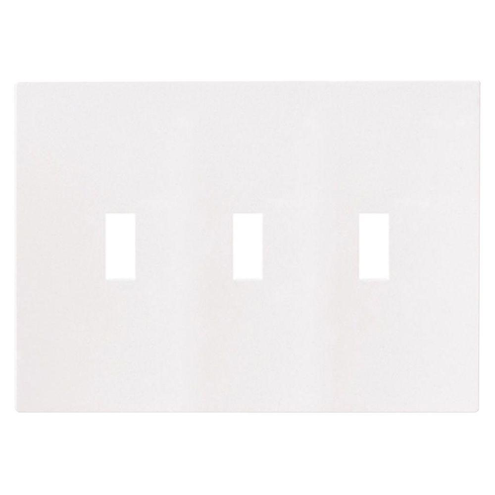 3-Gang Screwless Toggle Polycarbonate Wall Plate - White