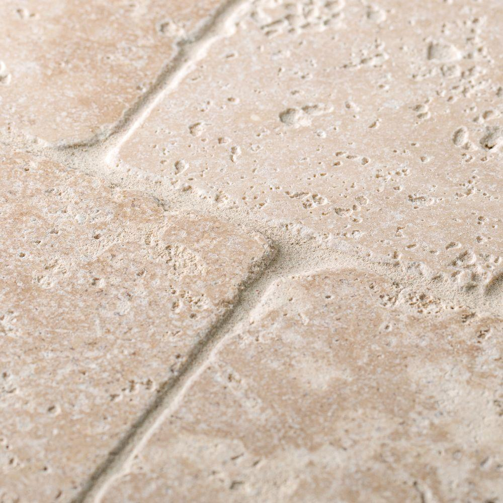 Jeffrey Court Light Travertine Beige/Cream 4 in. x 4 in. Tumbled Natural Stone Wall and Floor Tile (1 sq. ft. / Pack)