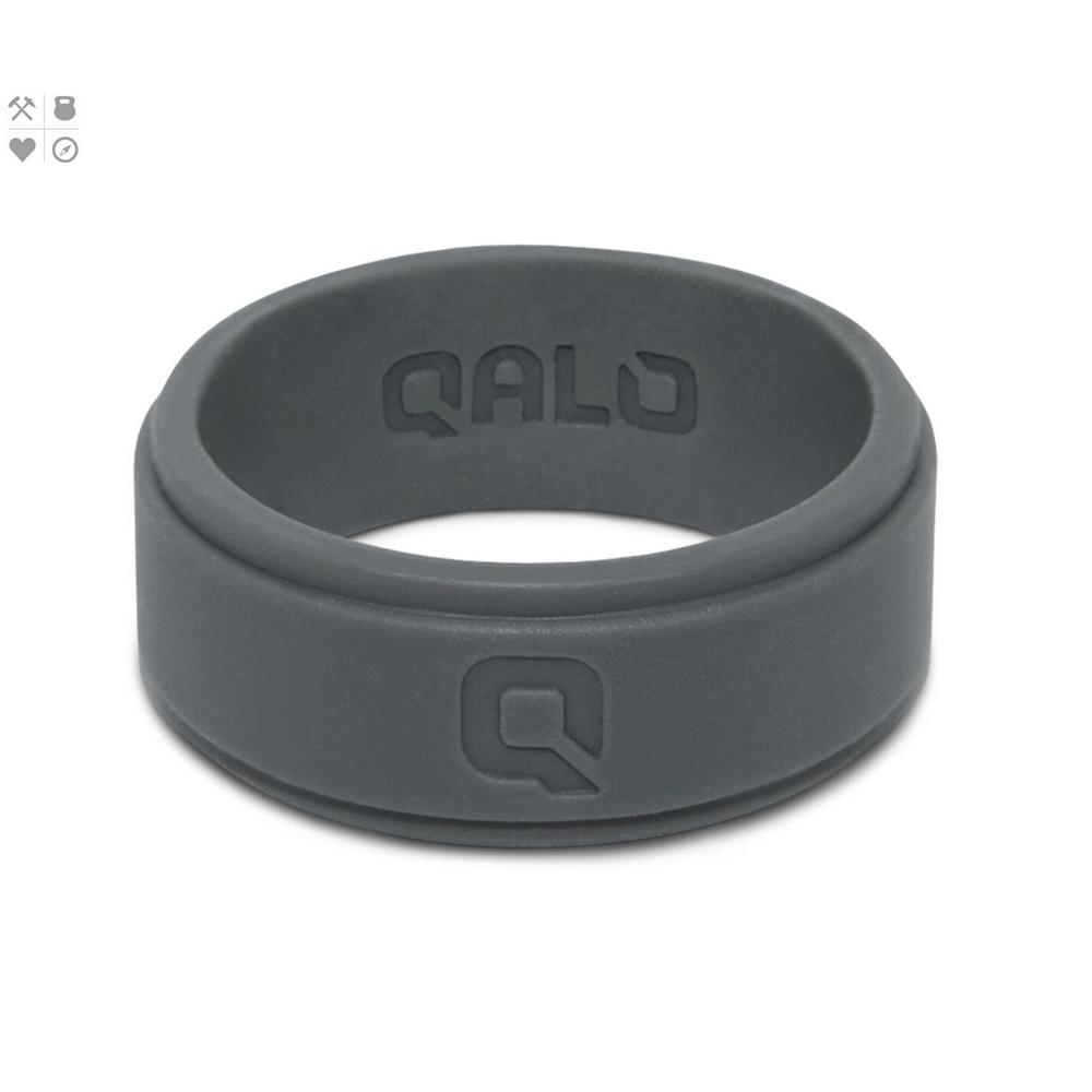 Qalo Men S Charcoal Step Edge Q2x Silicone Wedding Ring Qs Msc09