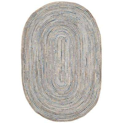 Cape Cod Natural/Blue 9 ft. x 12 ft. Oval Area Rug