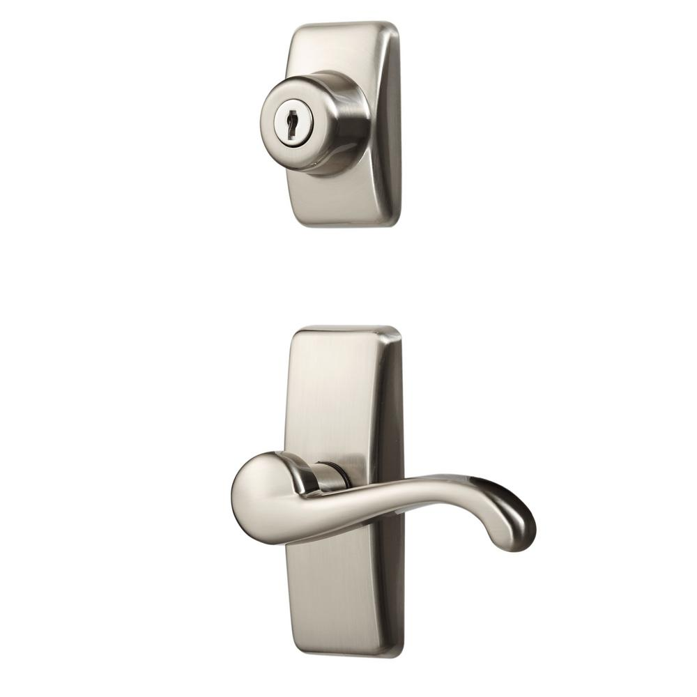 Satin Nickel Coated Zinc Storm and Screen Door Lever Handle Set