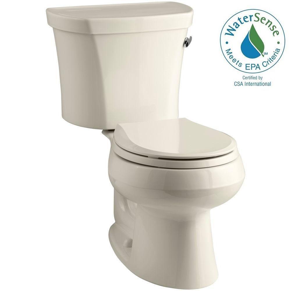 KOHLER Wellworth 14 in. Rough-In 2-piece 1.28 GPF Single Flush Round Toilet in Almond