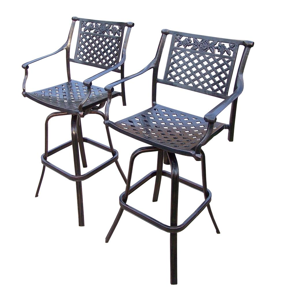 Rose Swivel Aluminum Outdoor Bar Stool 2 Pack Hd3022 Bs2 Ab The
