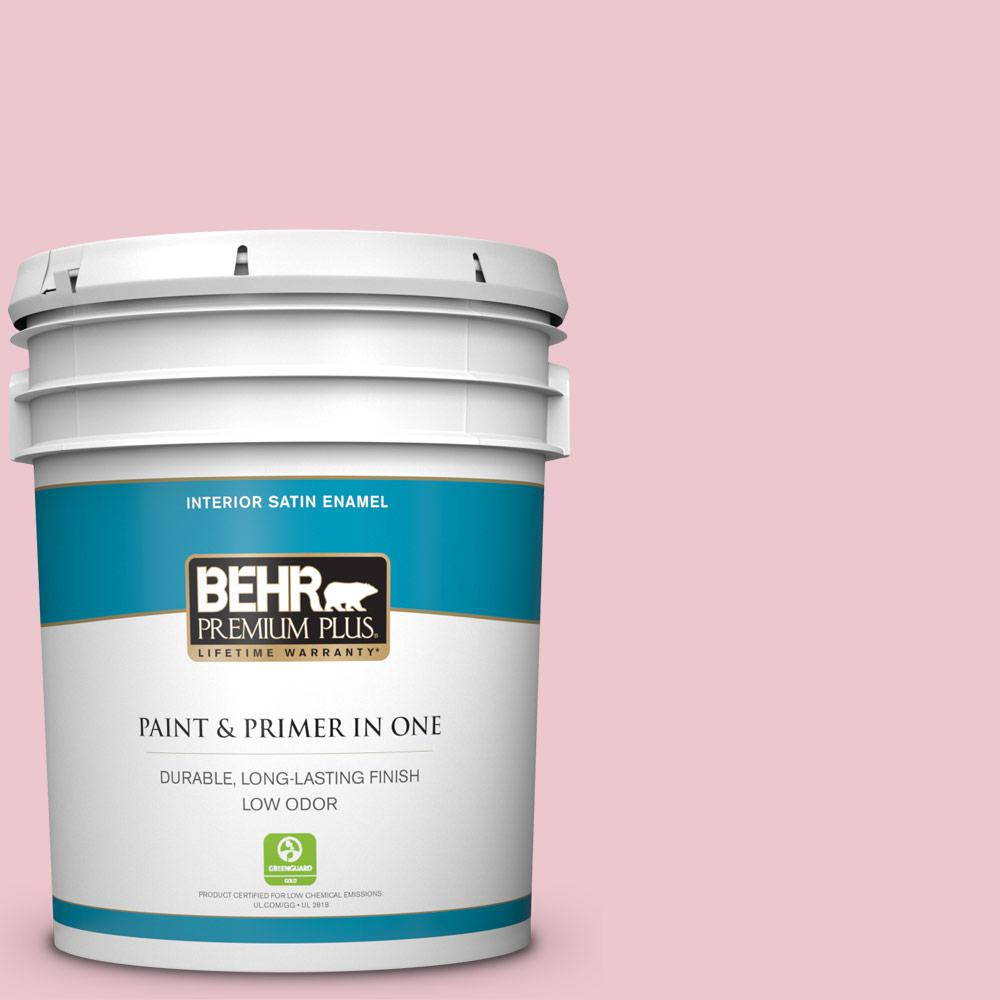 BEHR Premium Plus 5 gal. #M140-2 Funny Face Satin Enamel Low Odor Interior Paint and Primer in One For a paint that's as versatile as it is beautiful, choose BEHR PREMIUM PLUS Low Odor, Paint & Primer in One Satin Enamel Interior paint. This rich, all-surface sheen is great for any room in the house! The pearl-like finish makes it perfect for adding a pop of color to both walls and trim. Color: Funny Face.