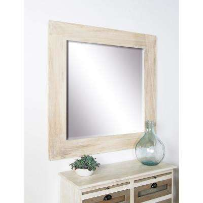 Square Stained Brown Dresser Wall Mirror