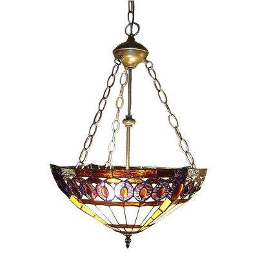 Amberjack Tiffany 2-Light Bronze Hanging Pendant