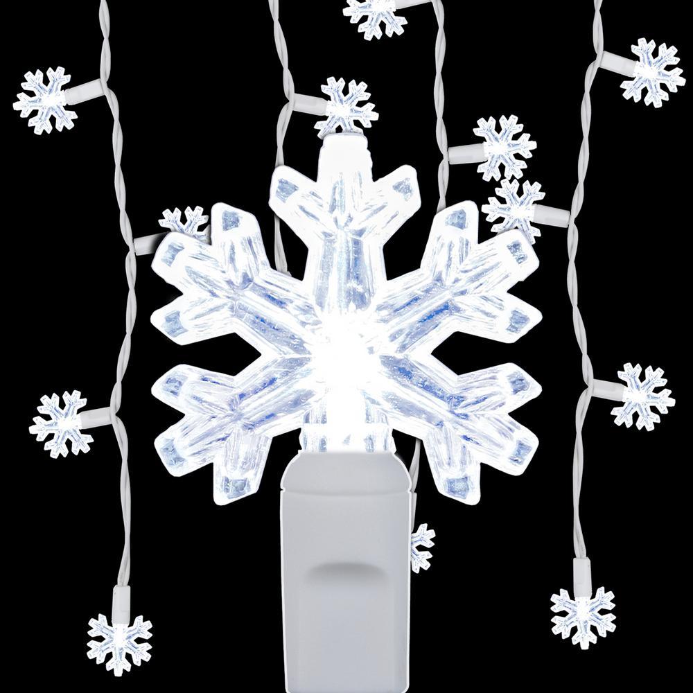 6.5 ft. 70-Light LED Cool White Snowflake Icicle Light Set