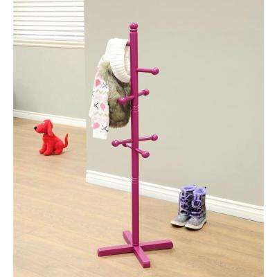 Home Craft 8-Hooks Kid's Coat Rack in Purple
