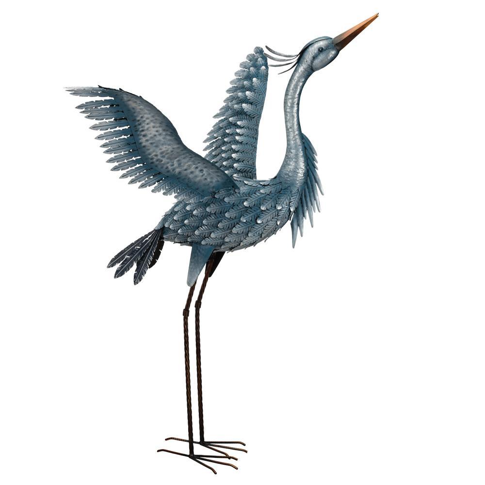 Regal Large Metallic Blue Wings Up Heron Garden Statue