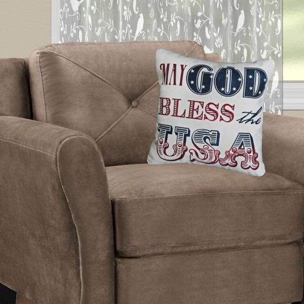 American Spirit Multicolored Plaid 18 in x 18 in Throw Pillow Cover