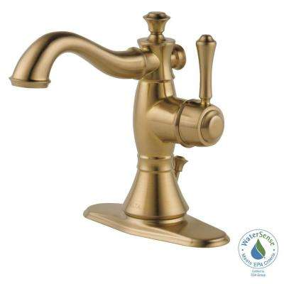 Cassidy Single Hole Single-Handle Bathroom Faucet with Metal Drain Assembly in Champagne Bronze