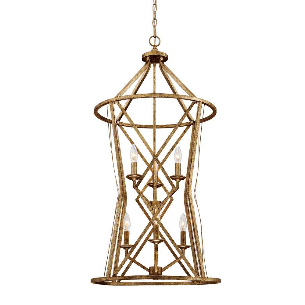 Lakewood Collection 6-Light Vintage Gold Pendant