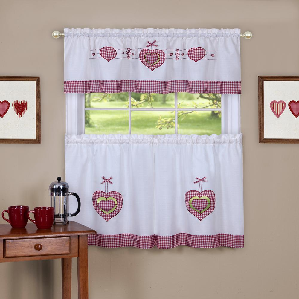 Gingham Hearts White Polyester Tier and Valance Curtain Set 56 in.
