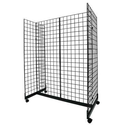 72 in. H x 24 in. W Grid Wall Panel Floorstanding Display Fixture with Gondola Base, Black