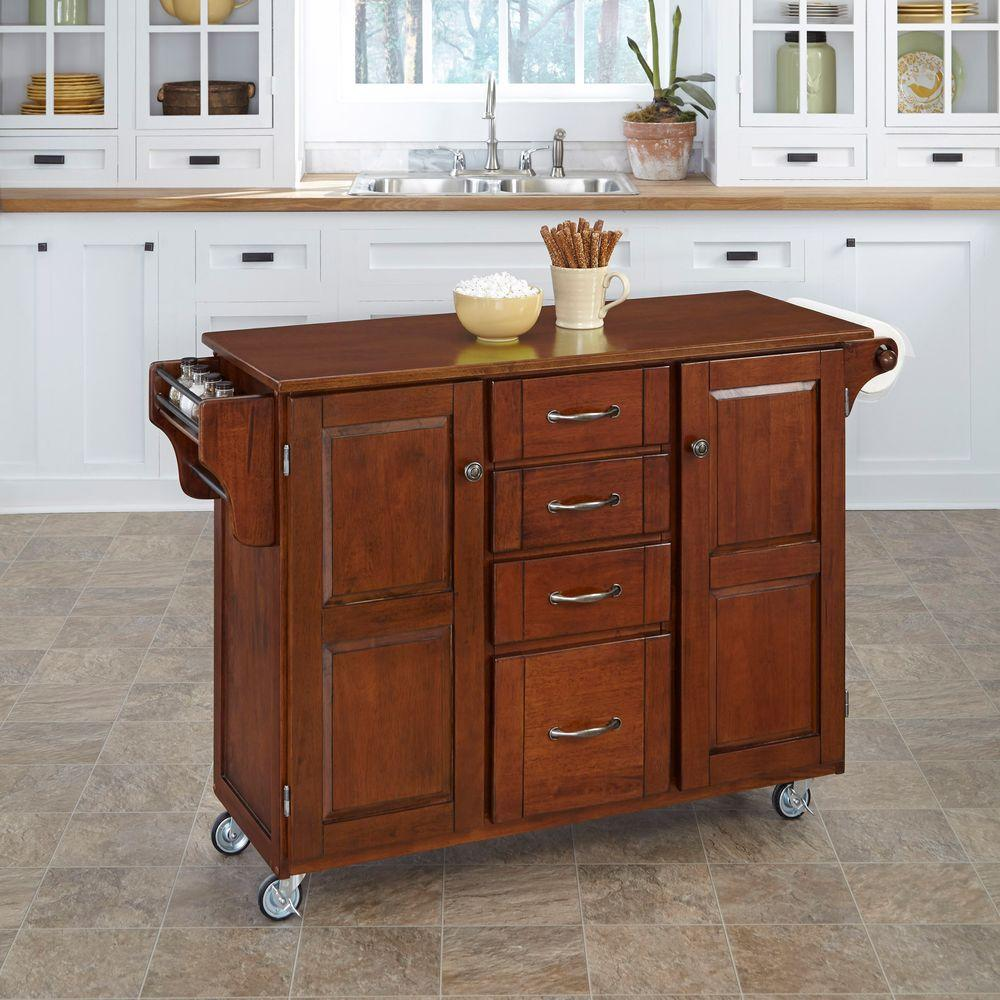 Home Styles Create-a-Cart Cherry Kitchen Cart With Towel Bar