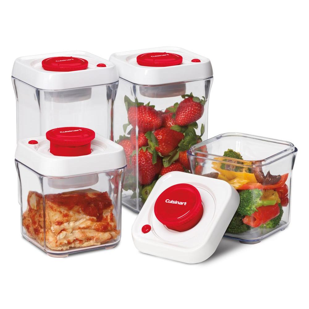 Cuisinart FreshEdge Vacuum-Seal 8-Piece Food Storage System in Red