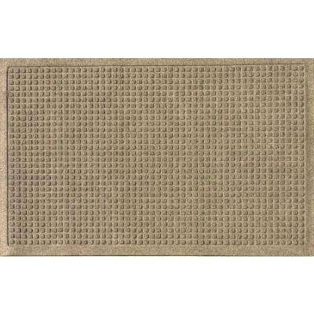 Khaki 24 in. x 36 in. Squares Polypropylene Door Mat