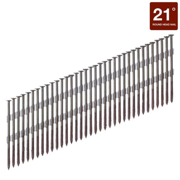 3 in. x 0.120-Gauge 21-Degree Brite Smooth Shank Plastic Collated Framing Nails (2000 per Box)