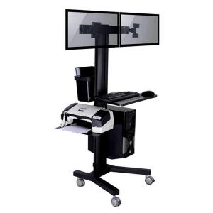 TygerClaw Mobile TV Stand for 2 Screen with PC holder by