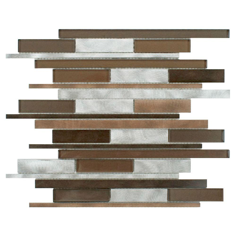 Merola Tile Fusion Linear Noir 11-7/8 in. x 12-1/8 in. x 6 mm Brushed Aluminum and Glass Mosaic Tile