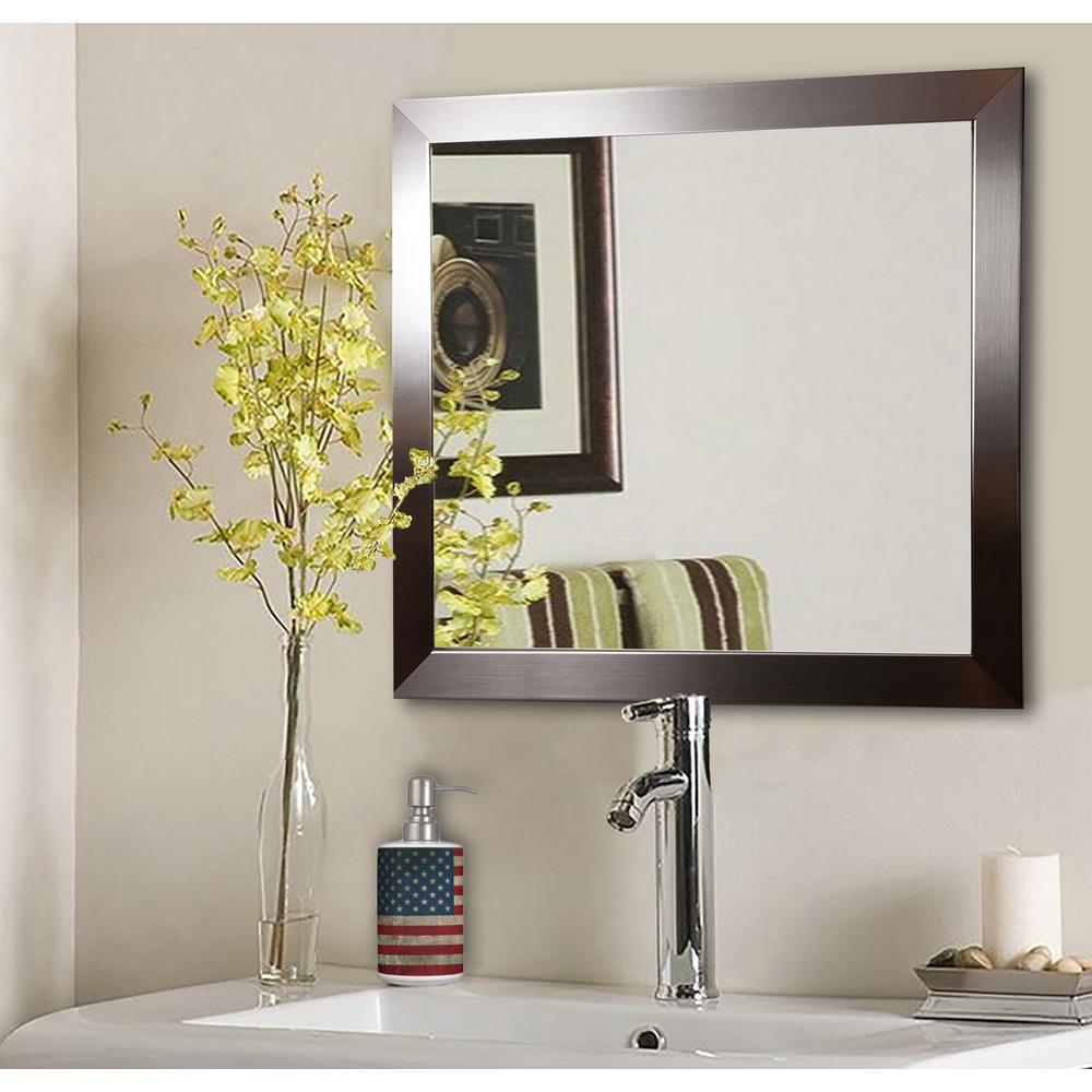 20 in. W x 20 in. H Framed Square Bathroom Vanity Mirror in Silver