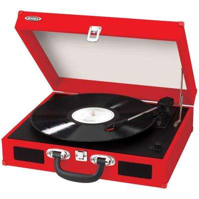 Portable 3-Speed Stereo Turntables with Built-In Speakers, Red