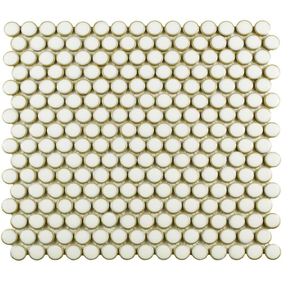 Merola Tile Hudson Penny Round Snowcap White 12 In X 5 8 Mm Porcelain Mosaic Fkompr1t The Home Depot
